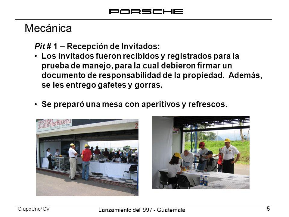 Lanzamiento del 997 - Guatemala 6 GrupoUno/ GV Pit #1 - Recepción