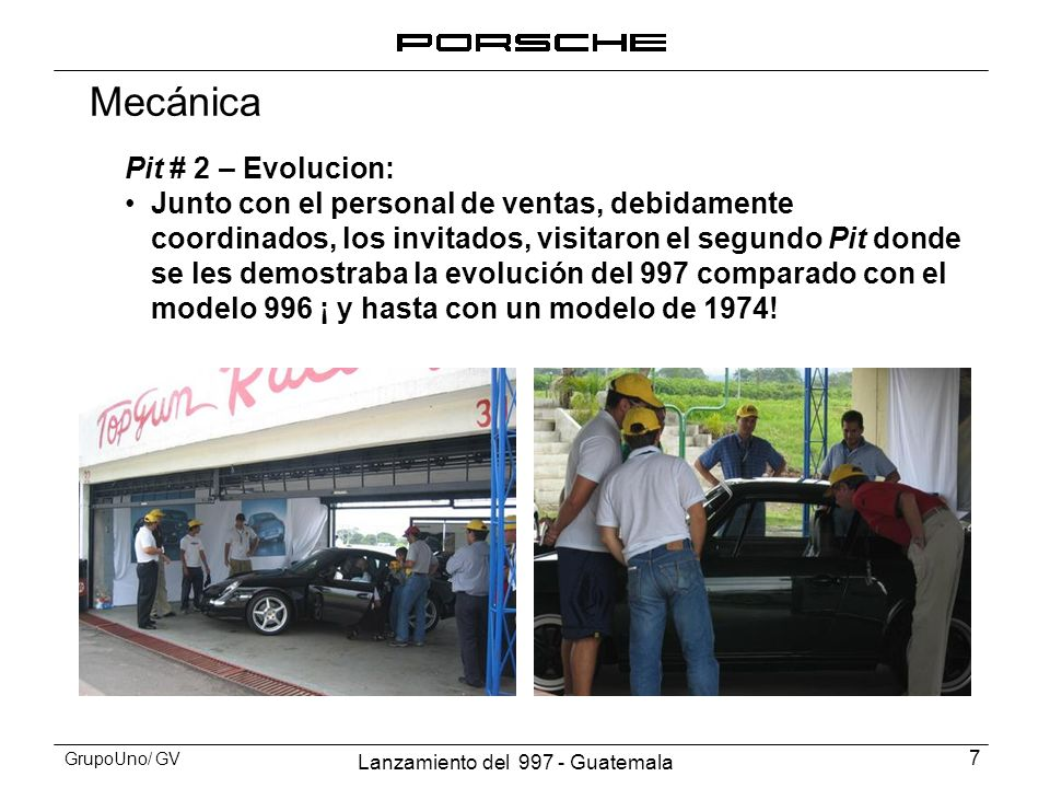 Lanzamiento del 997 - Guatemala 8 GrupoUno/ GV Pit # 2 - Evolución