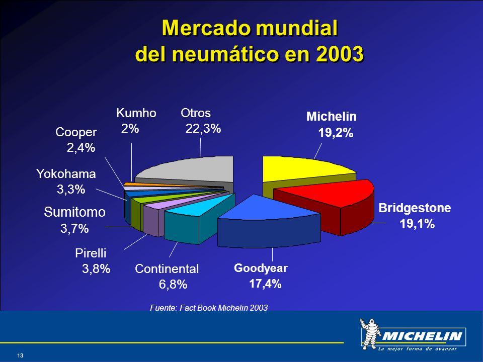 Abril 2004 13 Mercado mundial del neumático en 2003 Michelin 19,2% Bridgestone 19,1% Goodyear 17,4% Pirelli 3,8% Otros 22,3% Continental 6,8% Cooper 2
