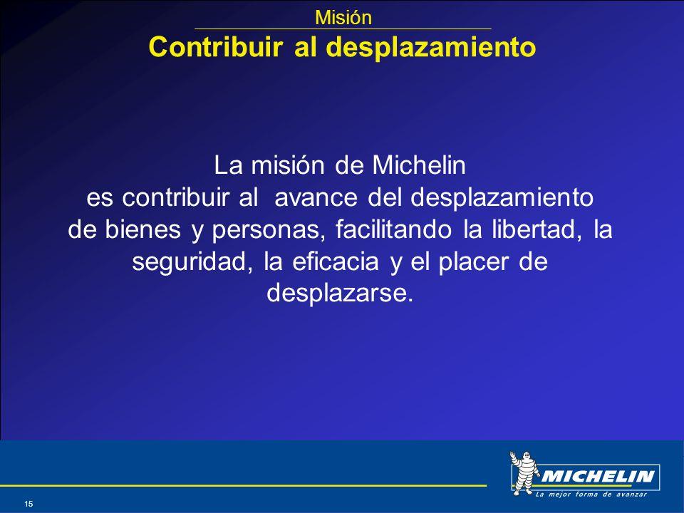 Abril 2004 15 La misión de Michelin es contribuir al avance del desplazamiento de bienes y personas, facilitando la libertad, la seguridad, la eficaci