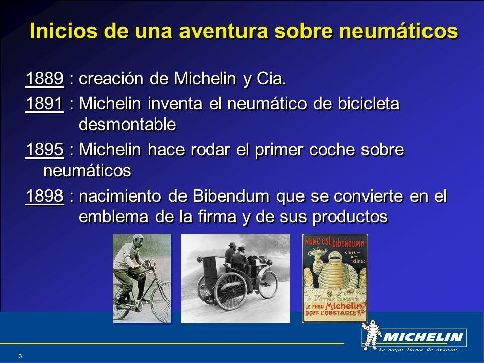 Abril 2004 3 Inicios de una aventura sobre neumáticos 1889 : creación de Michelin y Cia. 1891 : Michelin inventa el neumático de bicicleta desmontable