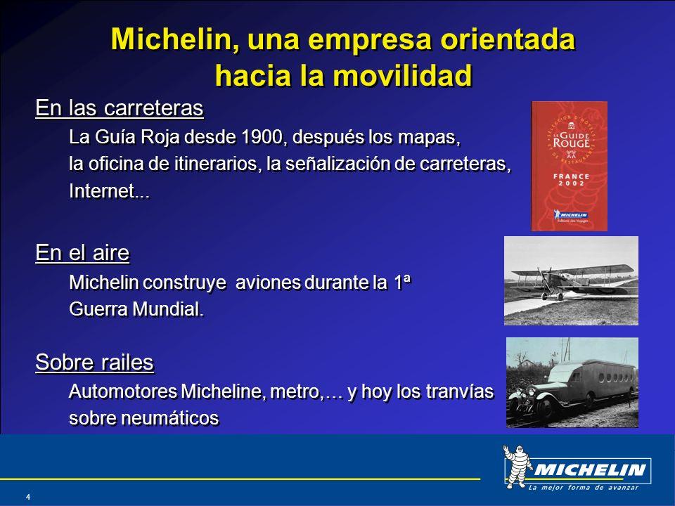 Abril 2004 4 Michelin, una empresa orientada hacia la movilidad En las carreteras La Guía Roja desde 1900, después los mapas, la oficina de itinerario