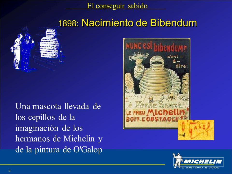 Abril 2004 6 1898: Nacimiento de Bibendum El conseguir sabido Una mascota llevada de los cepillos de la imaginación de los hermanos de Michelin y de l