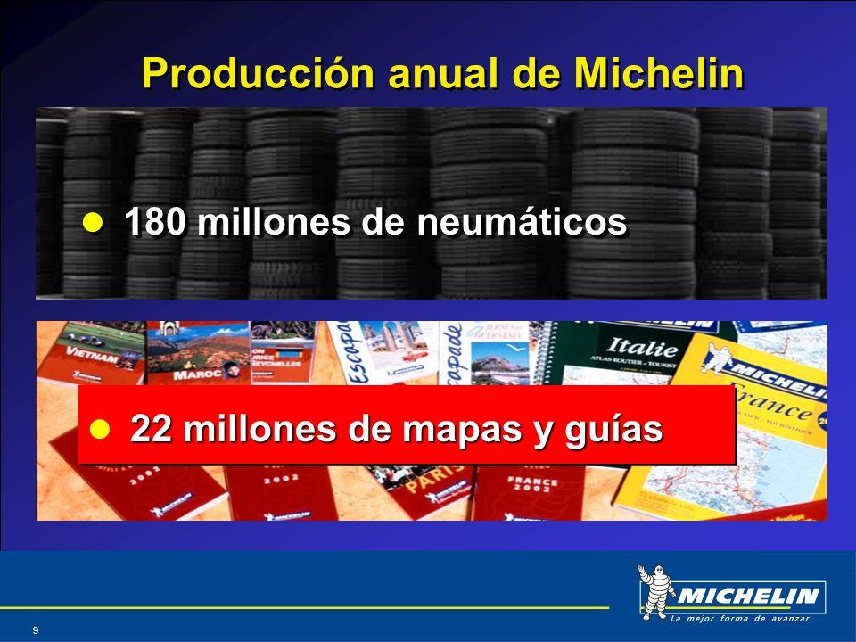 Abril 2004 9 Producción anual de Michelin 180 millones de neumáticos 22 millones de mapas y guías