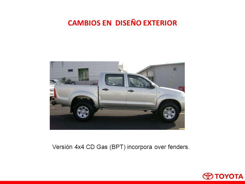 CAMBIOS EN DISEÑO EXTERIOR Versión 4x4 CD Gas (BPT) incorpora over fenders.