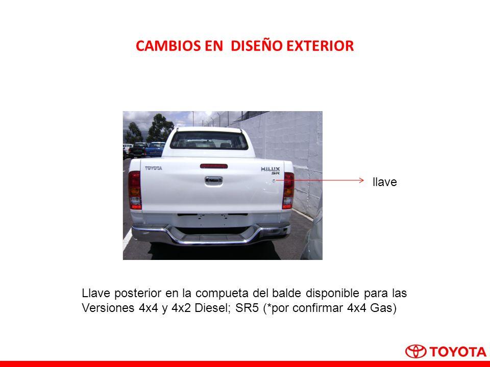 CAMBIOS EN DISEÑO EXTERIOR llave Llave posterior en la compueta del balde disponible para las Versiones 4x4 y 4x2 Diesel; SR5 (*por confirmar 4x4 Gas)
