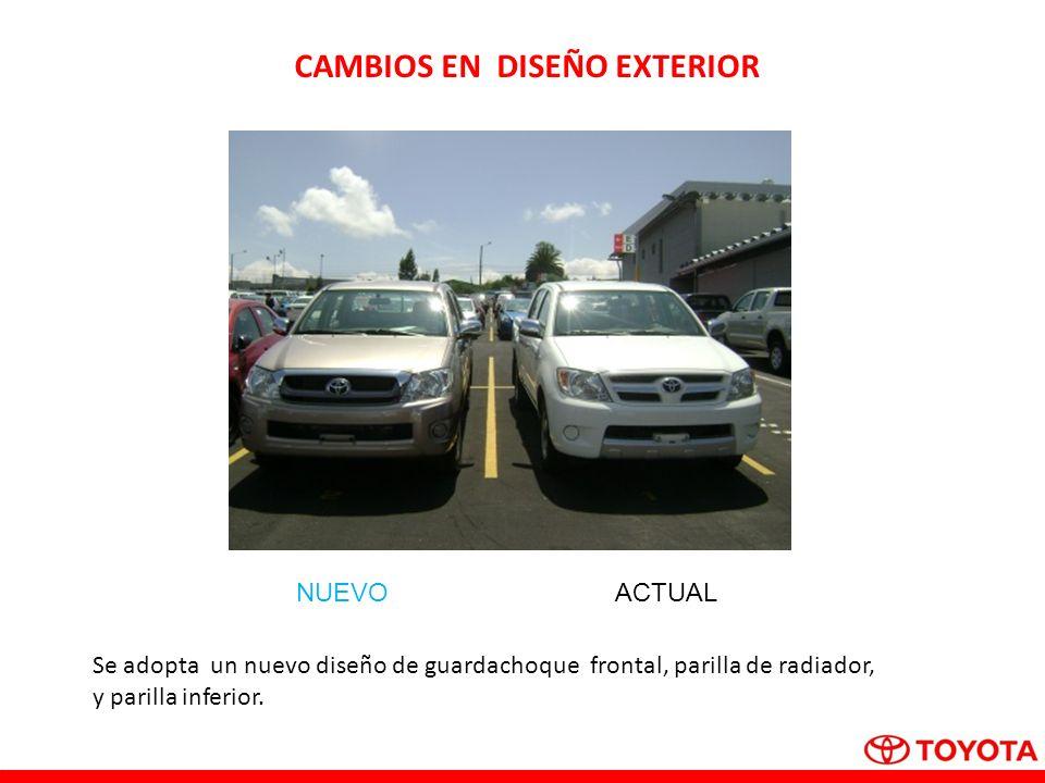 ACTUALNUEVO CAMBIOS EN DISEÑO EXTERIOR Se adopta un nuevo diseño de guardachoque frontal, parilla de radiador, y parilla inferior.