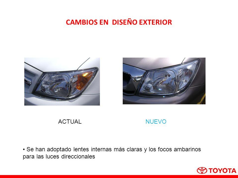 CAMBIOS EN DISEÑO EXTERIOR ACTUALNUEVO Se han adoptado lentes internas más claras y los focos ambarinos para las luces direccionales
