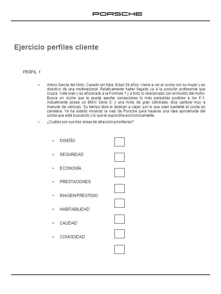 Ejercicio perfiles cliente PERFIL 1 –Arturo García del Nido. Casado sin hijos. Edad 38 años. Viene a ver el coche con su mujer y es directivo de una m
