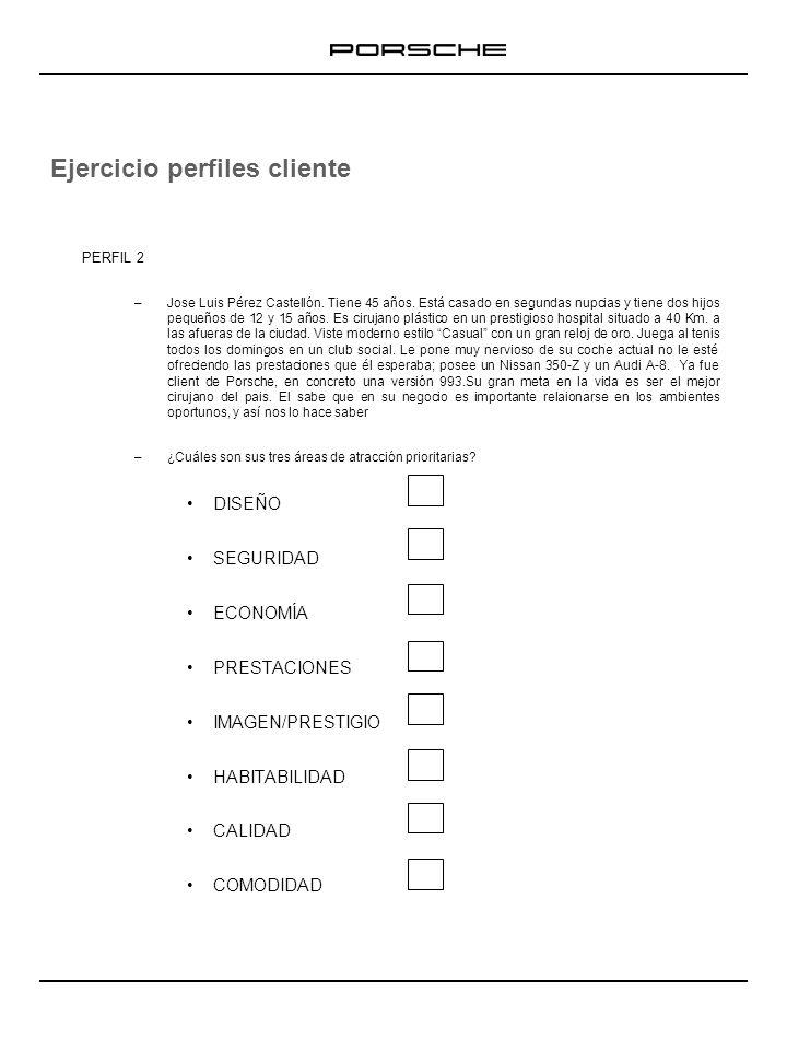 Ejercicio perfiles cliente PERFIL 2 –Jose Luis Pérez Castellón. Tiene 45 años. Está casado en segundas nupcias y tiene dos hijos pequeños de 12 y 15 a