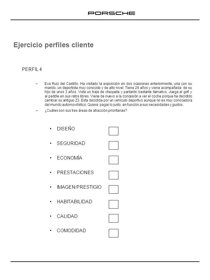 Ejercicio perfiles cliente PERFIL 4 –Eva Ruiz del Castillo. Ha visitado la exposición en dos ocasiones anteriormente, una con su marido, un deportista