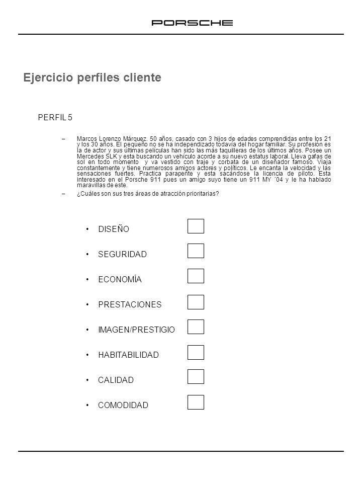 Ejercicio perfiles cliente TREN RODANTE Y NEUMÁTICOS/LLANTAS: TOMAS DE AIRE DE REFRIGERACIÓN: SISTEMA DE FRENOS: PERFIL 1 DISEÑO SEGURIDAD ECONOMÍA PRESTACIONES IMAGEN/PRESTIGIO HABITABILIDAD CALIDAD COMODIDAD Ahora, una vez detectadas las tres áreas de atracción prioritarias de cada perfil de cliente, se debe argumentar estos elementos de manera personalizada en función estas áreas de atracción.
