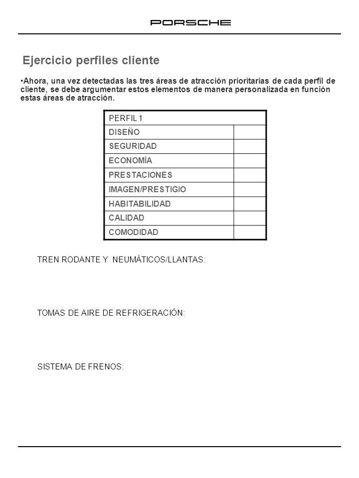 Ejercicio perfiles cliente TREN RODANTE Y NEUMÁTICOS/LLANTAS: TOMAS DE AIRE DE REFRIGERACIÓN: SISTEMA DE FRENOS: PERFIL 2 DISEÑO SEGURIDAD ECONOMÍA PRESTACIONES IMAGEN/PRESTIGIO HABITABILIDAD CALIDAD COMODIDAD