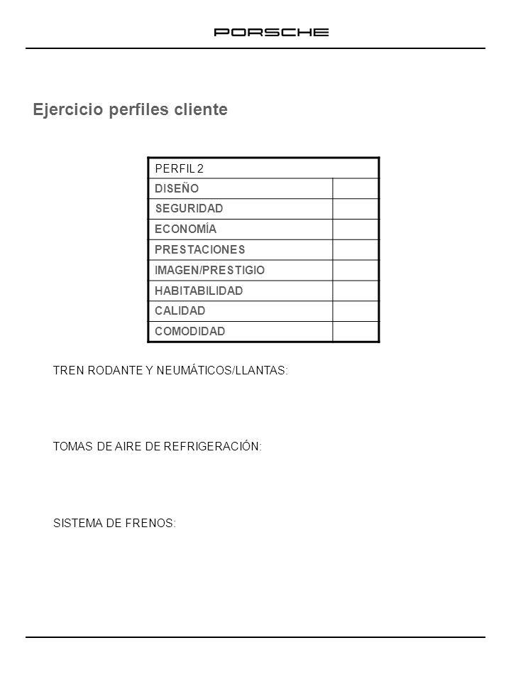 Ejercicio perfiles cliente TREN RODANTE Y NEUMÁTICOS/LLANTAS: TOMAS DE AIRE DE REFRIGERACIÓN: SISTEMA DE FRENOS: PERFIL 3 DISEÑO SEGURIDAD ECONOMÍA PRESTACIONES IMAGEN/PRESTIGIO HABITABILIDAD CALIDAD COMODIDAD