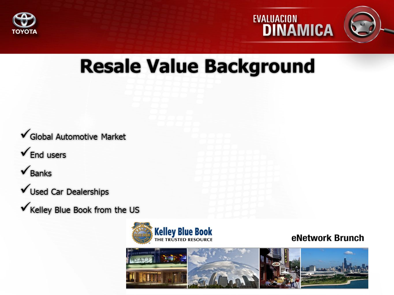 Obtain a percentage of resale value for the highest selling brands on the country, through a Buy/Sell Table Research, weigh and compare purchase drivers Offer interesting facts from the salesmans, customers and middle mans perspective.
