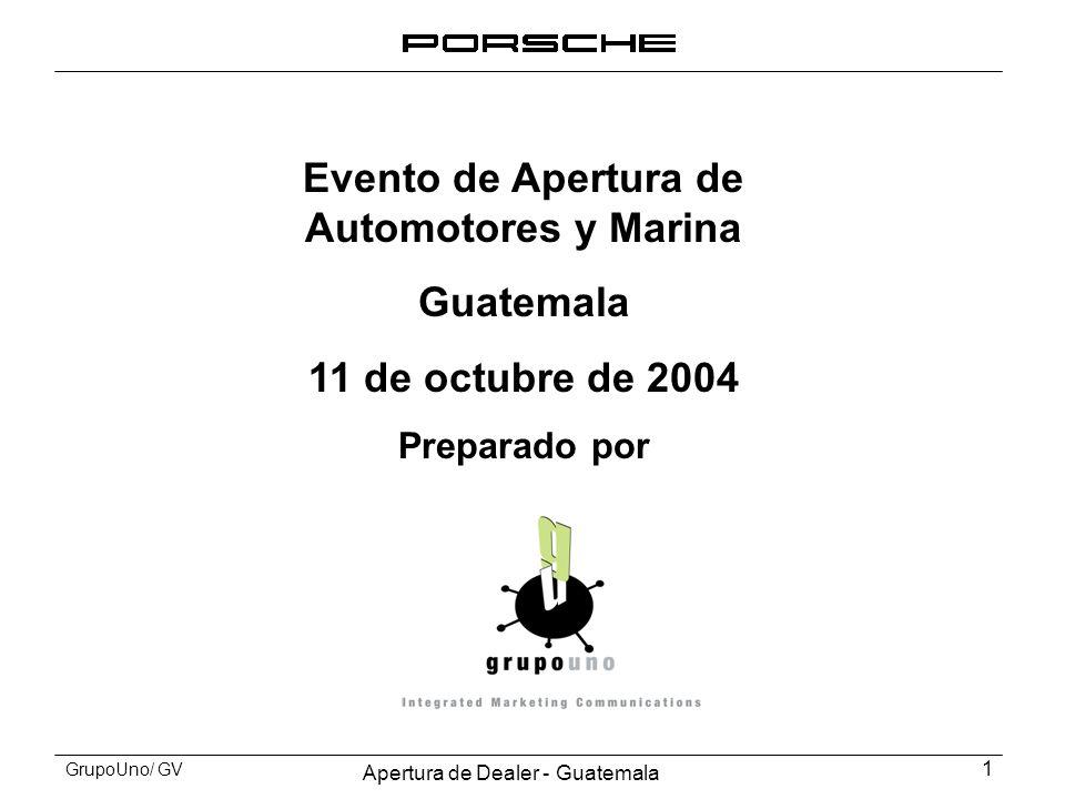 Apertura de Dealer - Guatemala 1 GrupoUno/ GV Evento de Apertura de Automotores y Marina Guatemala 11 de octubre de 2004 Preparado por