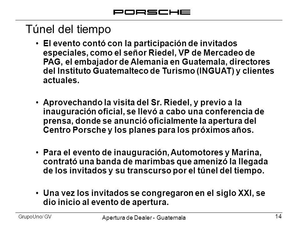 Apertura de Dealer - Guatemala 14 GrupoUno/ GV Túnel del tiempo El evento contó con la participación de invitados especiales, como el señor Riedel, VP