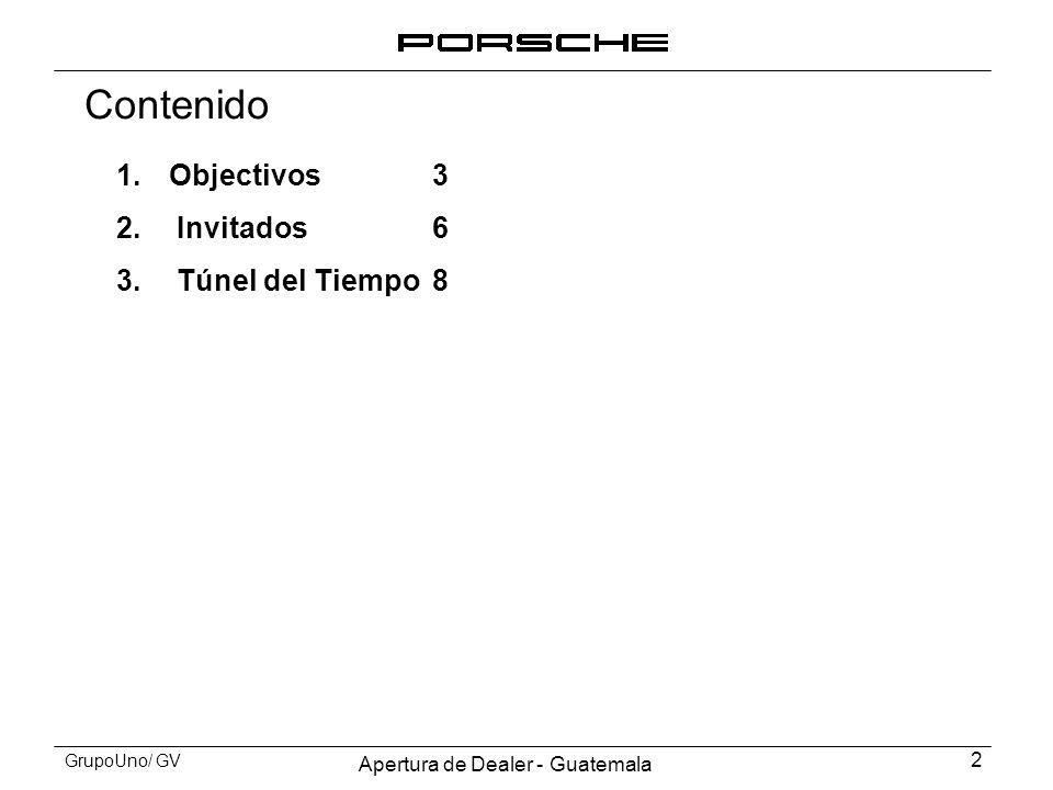 Apertura de Dealer - Guatemala 2 GrupoUno/ GV Contenido 1.Objectivos3 2. Invitados6 3. Túnel del Tiempo8