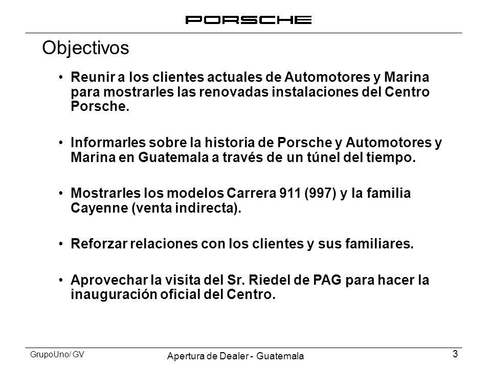 Apertura de Dealer - Guatemala 3 GrupoUno/ GV Objectivos Reunir a los clientes actuales de Automotores y Marina para mostrarles las renovadas instalac