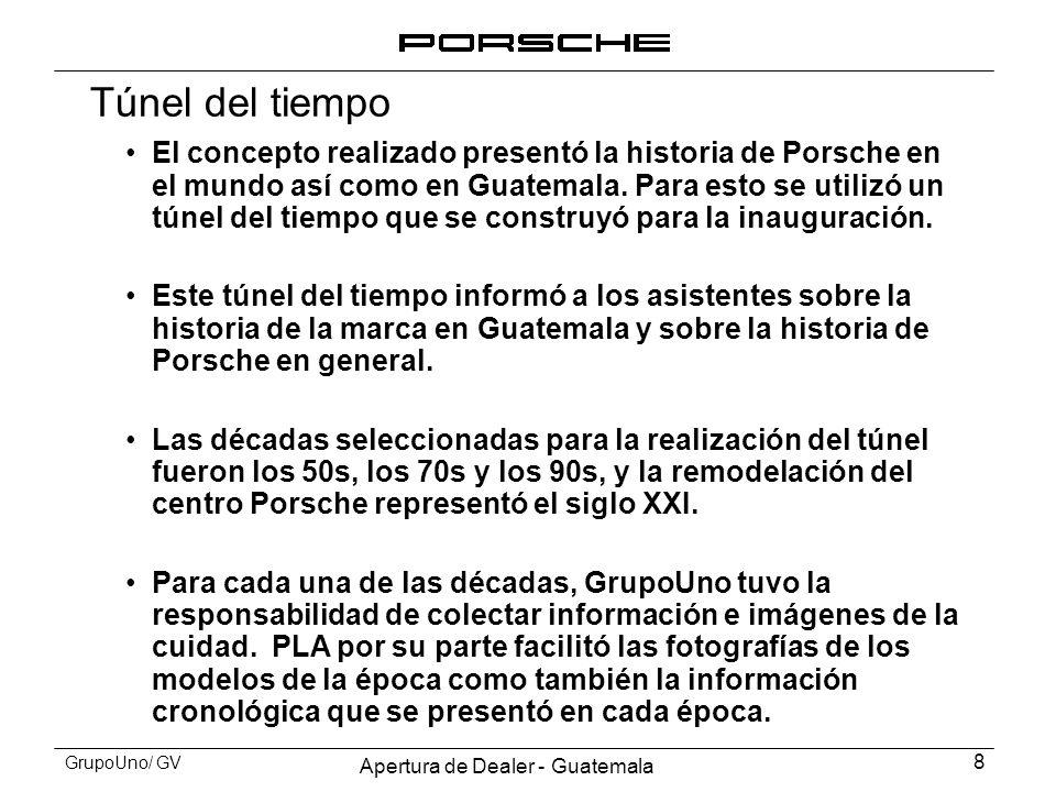 Apertura de Dealer - Guatemala 8 GrupoUno/ GV Túnel del tiempo El concepto realizado presentó la historia de Porsche en el mundo así como en Guatemala