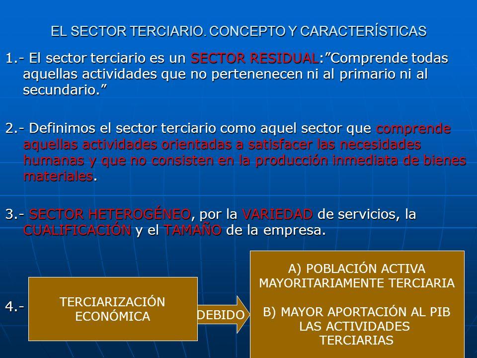 EL SECTOR TERCIARIO. CONCEPTO Y CARACTERÍSTICAS 1.- El sector terciario es un SECTOR RESIDUAL:Comprende todas aquellas actividades que no pertenenecen