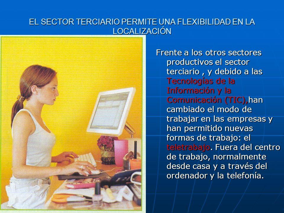 EL SECTOR TERCIARIO PERMITE UNA FLEXIBILIDAD EN LA LOCALIZACIÓN Frente a los otros sectores productivos el sector terciario, y debido a las Tecnología