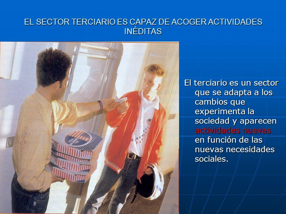 EL SECTOR TERCIARIO ES CAPAZ DE ACOGER ACTIVIDADES INÉDITAS El terciario es un sector que se adapta a los cambios que experimenta la sociedad y aparec