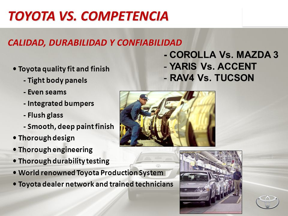 TOYOTA VS. COMPETENCIA CALIDAD, DURABILIDAD Y CONFIABILIDAD Toyota quality fit and finish - Tight body panels - Even seams - Integrated bumpers - Flus