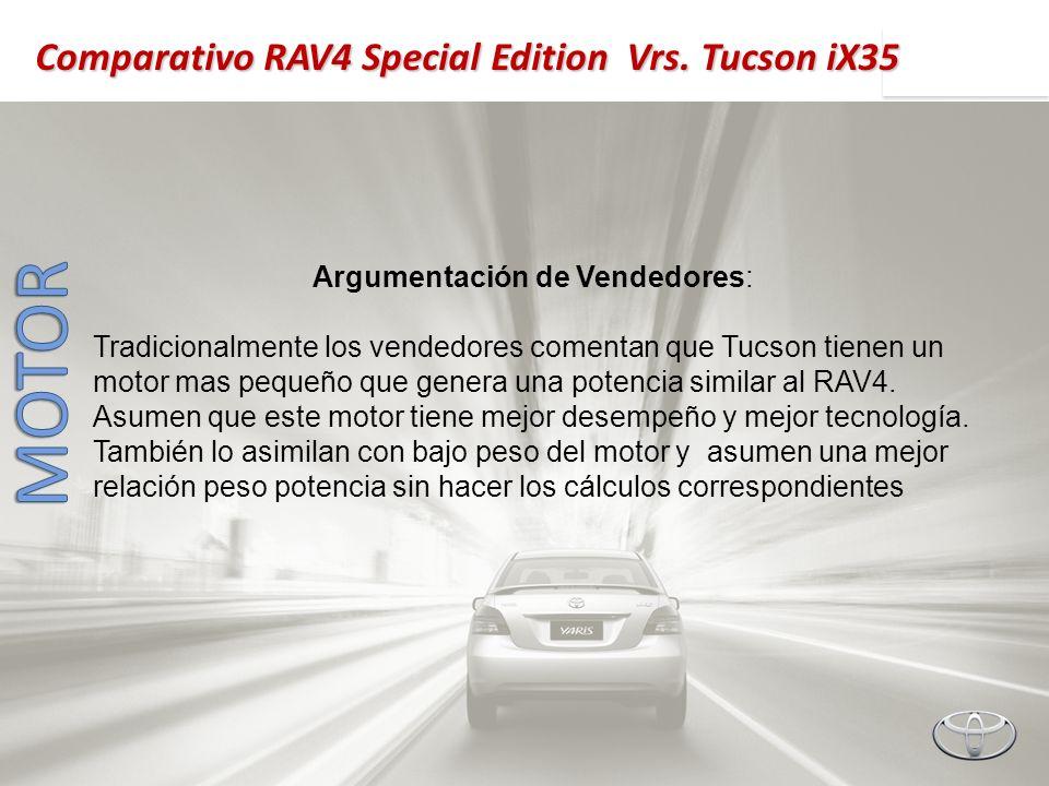 Argumentación de Vendedores: Tradicionalmente los vendedores comentan que Tucson tienen un motor mas pequeño que genera una potencia similar al RAV4.