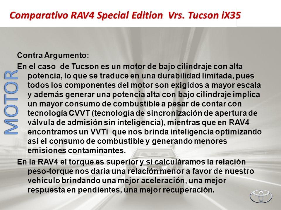 Contra Argumento: En el caso de Tucson es un motor de bajo cilindraje con alta potencia, lo que se traduce en una durabilidad limitada, pues todos los