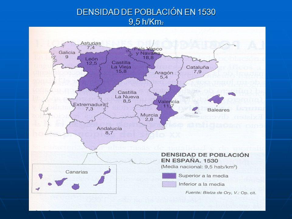 DENSIDAD DE POBLACIÓN EN 1530 9,5 h/Km 2