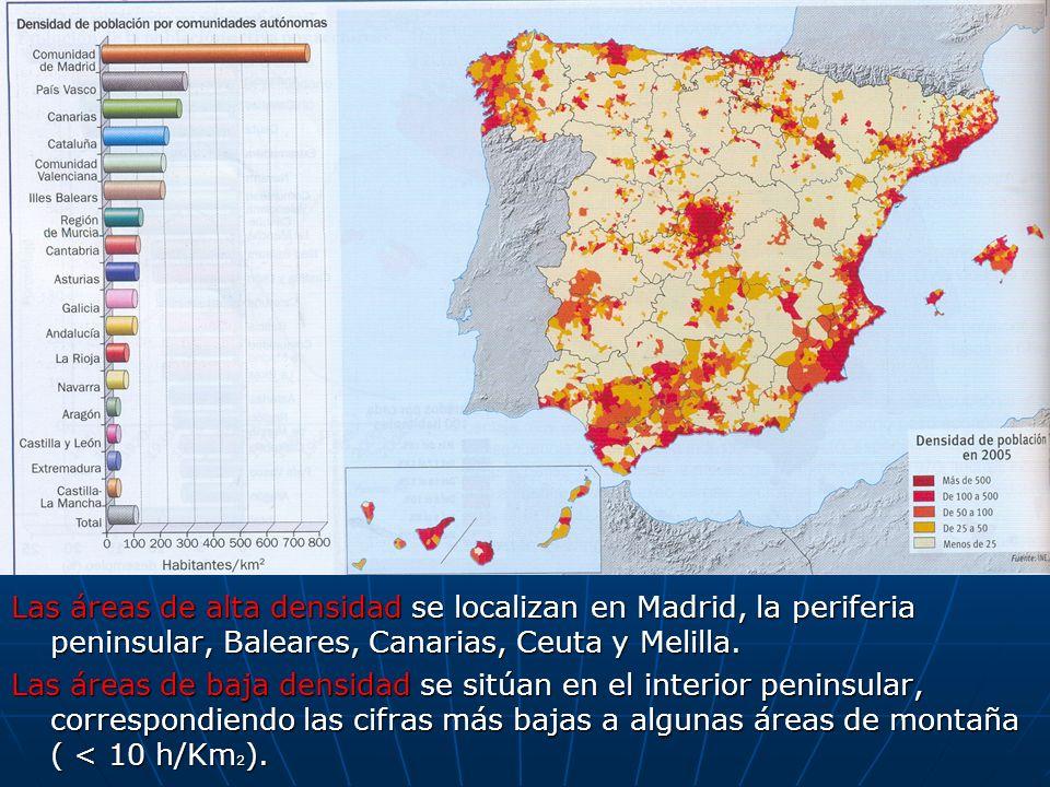 Las áreas de alta densidad se localizan en Madrid, la periferia peninsular, Baleares, Canarias, Ceuta y Melilla. Las áreas de baja densidad se sitúan