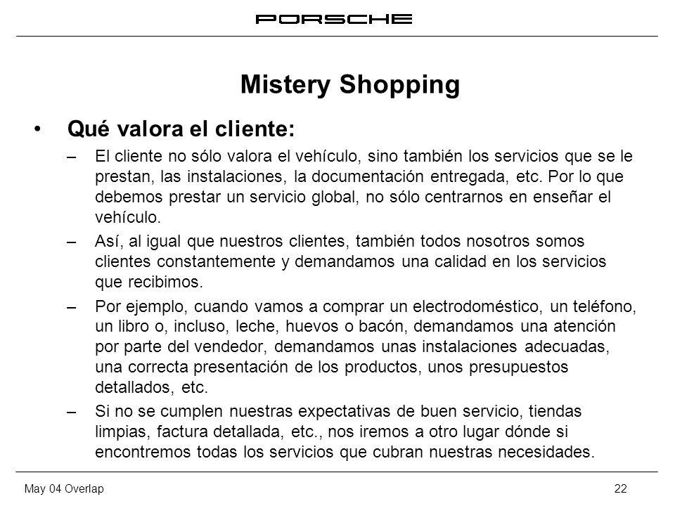 May 04 Overlap22 Qué valora el cliente: – El cliente no sólo valora el vehículo, sino también los servicios que se le prestan, las instalaciones, la d
