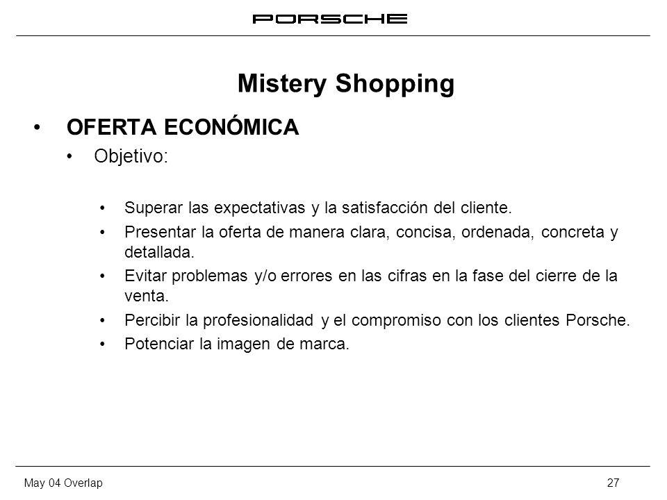 May 04 Overlap27 OFERTA ECONÓMICA Objetivo: Superar las expectativas y la satisfacción del cliente. Presentar la oferta de manera clara, concisa, orde