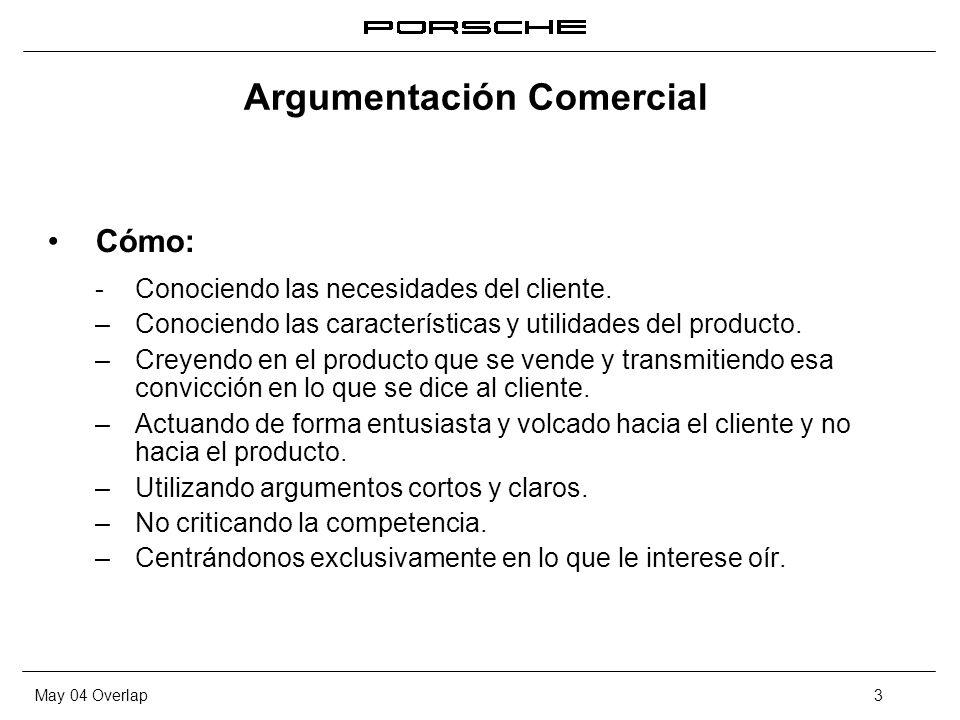 May 04 Overlap3 Argumentación Comercial Cómo: -Conociendo las necesidades del cliente. – Conociendo las características y utilidades del producto. – C