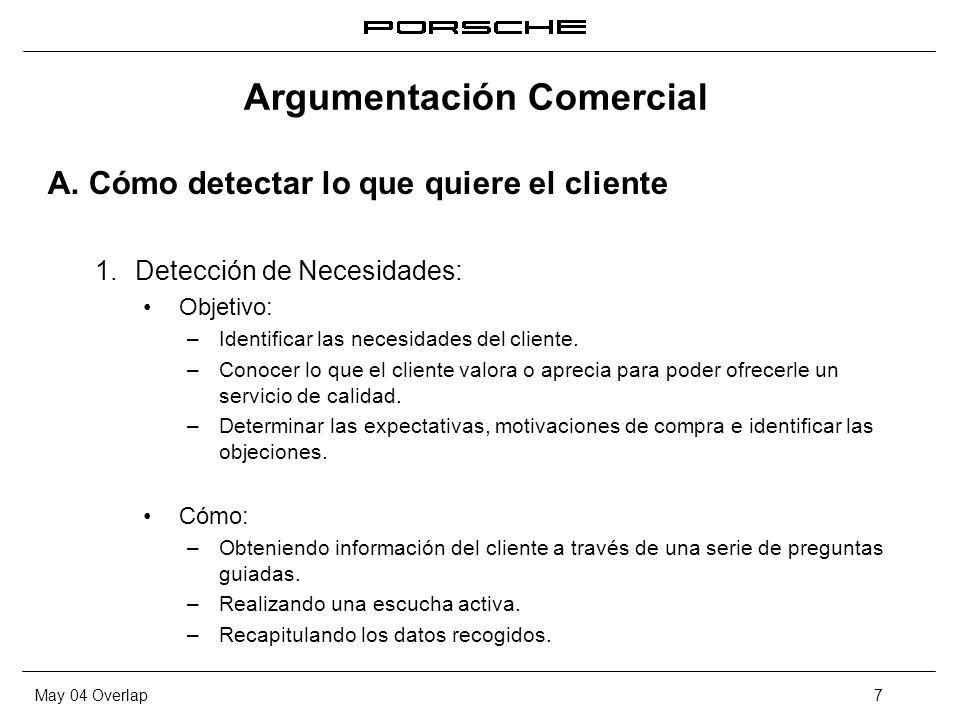 May 04 Overlap7 Argumentación Comercial A. Cómo detectar lo que quiere el cliente 1. Detección de Necesidades: Objetivo: – Identificar las necesidades