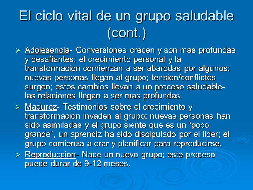 El ciclo vital de un grupo saludable (cont.) Adolesencia- Conversiones crecen y son mas profundas y desafiantes; el crecimiento personal y la transfor