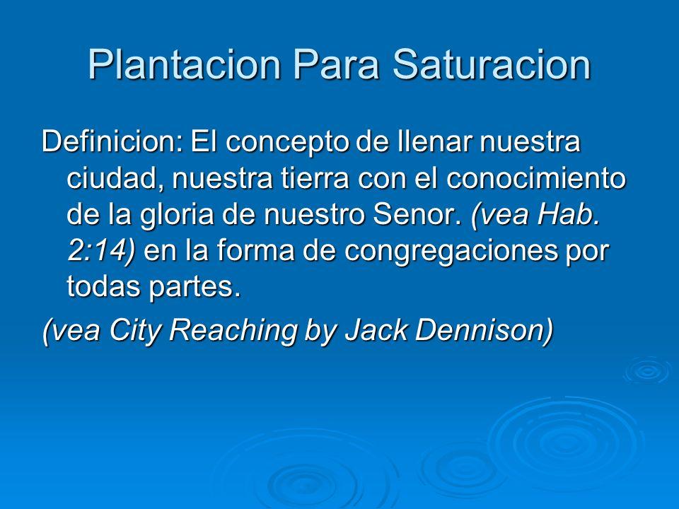 Plantacion Para Saturacion Definicion: El concepto de llenar nuestra ciudad, nuestra tierra con el conocimiento de la gloria de nuestro Senor. (vea Ha