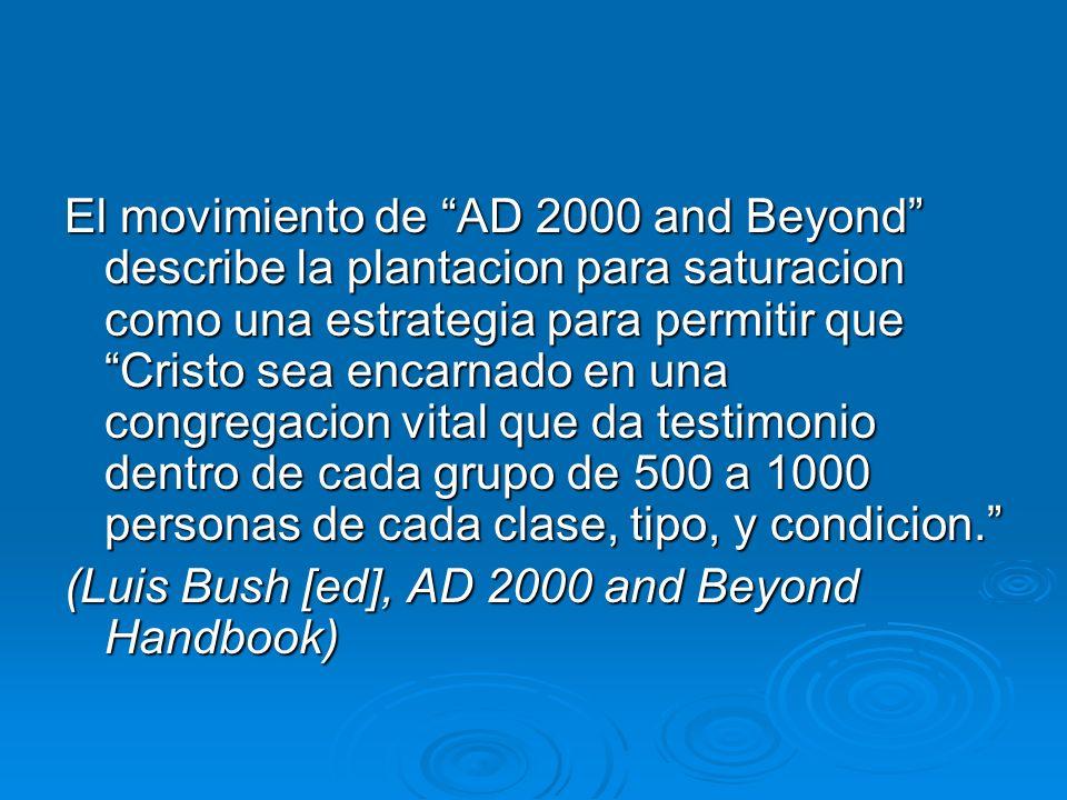 El movimiento de AD 2000 and Beyond describe la plantacion para saturacion como una estrategia para permitir que Cristo sea encarnado en una congregac