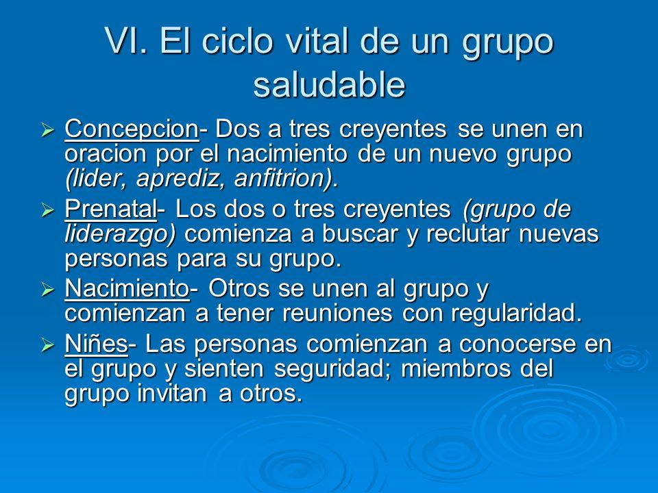 VI. El ciclo vital de un grupo saludable Concepcion- Dos a tres creyentes se unen en oracion por el nacimiento de un nuevo grupo (lider, aprediz, anfi