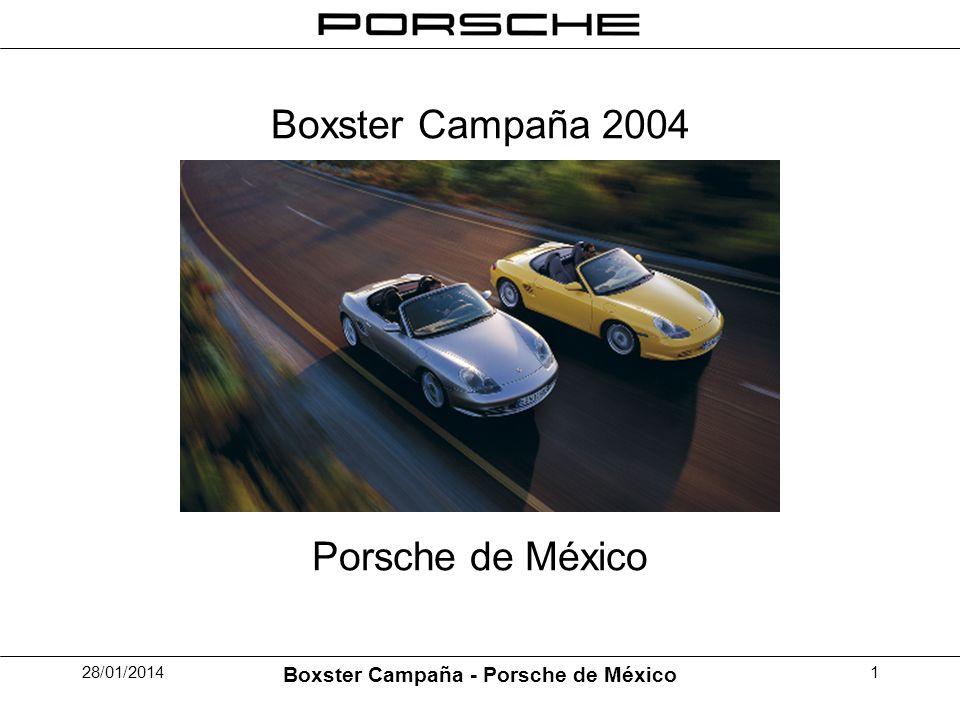 28/01/2014 Boxster Campaña - Porsche de México 2 La Idea Reducción de la existencia de modelos de Boxster por una campaña de comunicación (publicidad y direct mailing) en combinación con una oferta de financiamiento favorable.