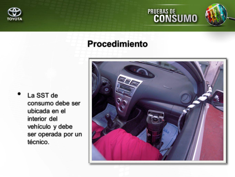 La SST de consumo debe ser ubicada en el interior del vehículo y debe ser operada por un técnico. Procedimiento