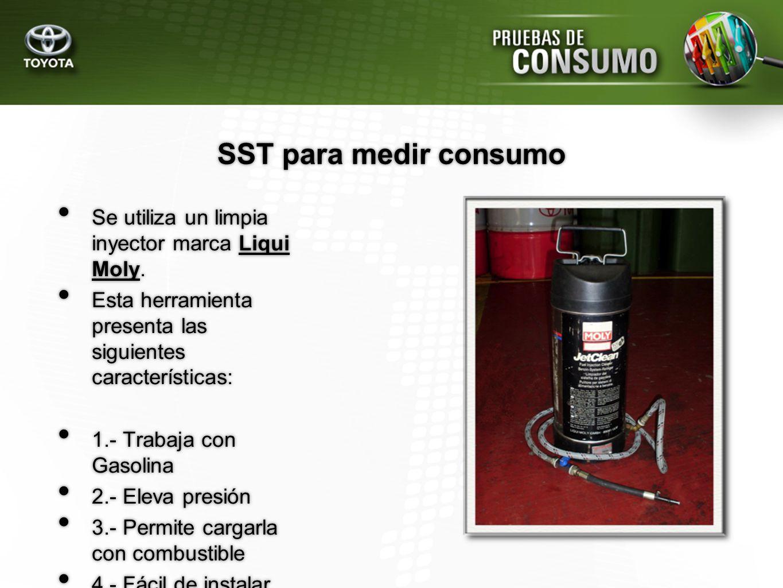 SST para medir consumo Se utiliza un limpia inyector marca Liqui Moly. Esta herramienta presenta las siguientes características: 1.- Trabaja con Gasol