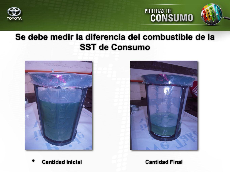 Se debe medir la diferencia del combustible de la SST de Consumo Cantidad Inicial Cantidad Final