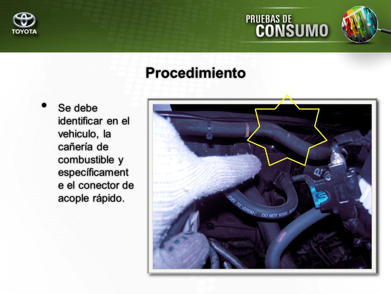 Se debe identificar en el vehiculo, la cañería de combustible y específicament e el conector de acople rápido. Procedimiento