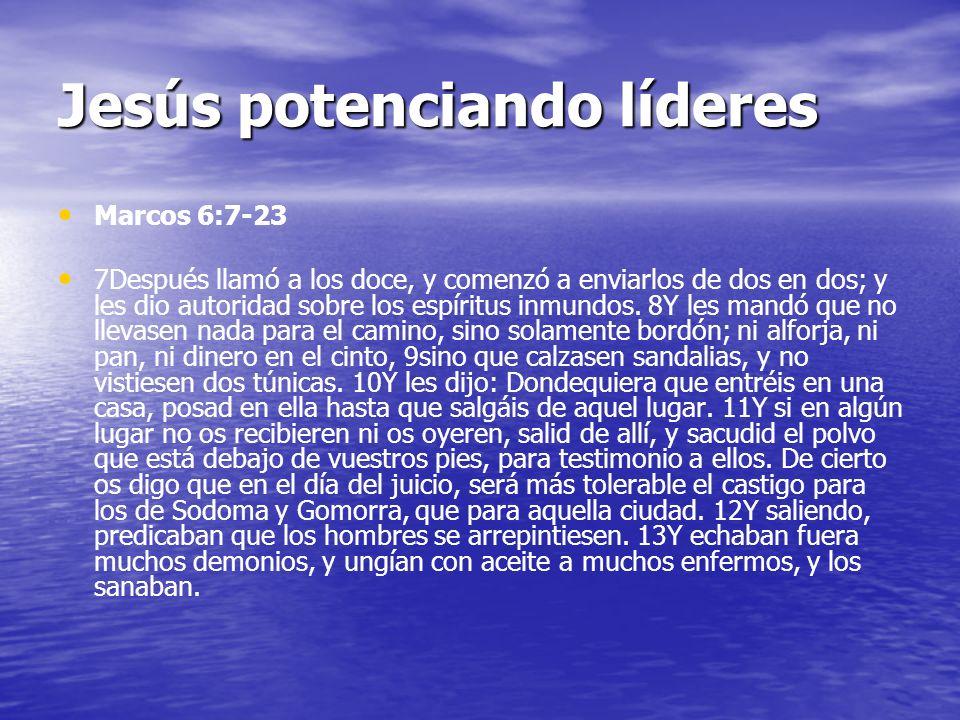 Jesús potenciando líderes Marcos 6:7-23 7Después llamó a los doce, y comenzó a enviarlos de dos en dos; y les dio autoridad sobre los espíritus inmundos.