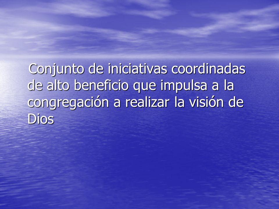 Conjunto de iniciativas coordinadas de alto beneficio que impulsa a la congregación a realizar la visión de Dios Conjunto de iniciativas coordinadas de alto beneficio que impulsa a la congregación a realizar la visión de Dios