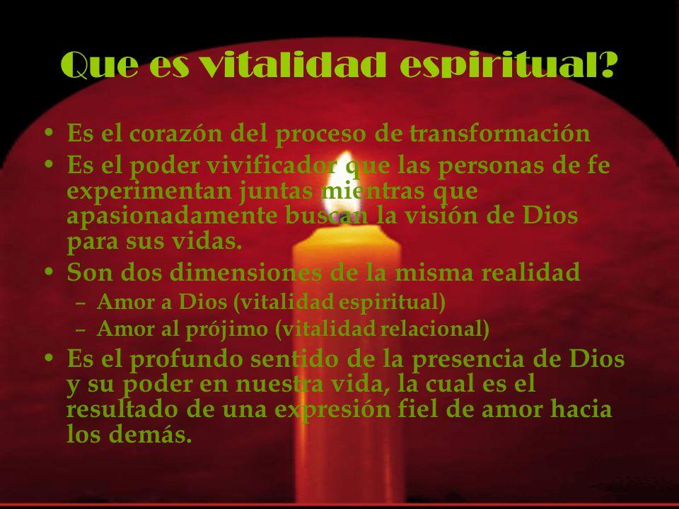Que es vitalidad espiritual? E s el corazón del proceso de transformación E s el poder vivificador que las personas de fe experimentan juntas mientras