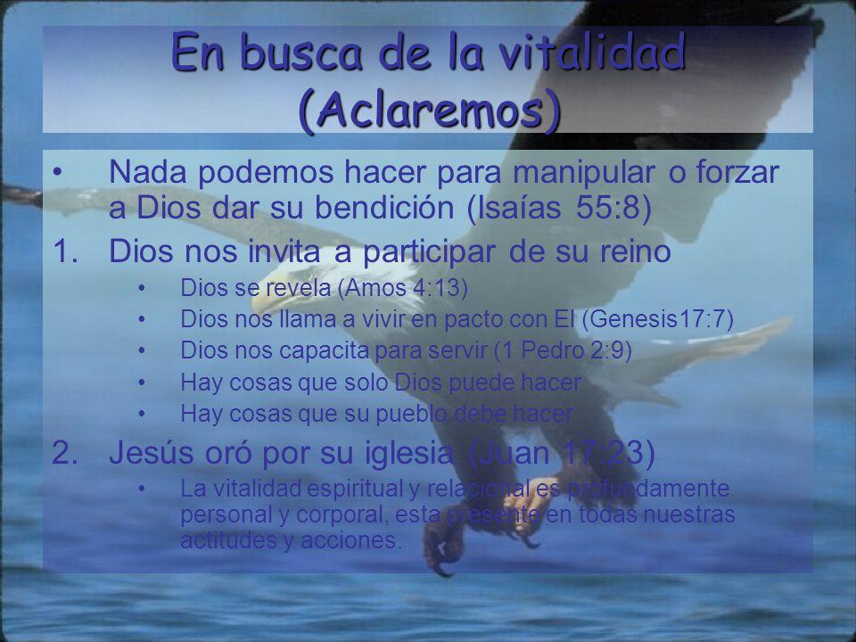 Elementos de la vitalidad espiritual y relacional Encuentro con la santidad de Dios Alcanzando la comunidad Experimentar la gracia de Dios Abrazando la unidad
