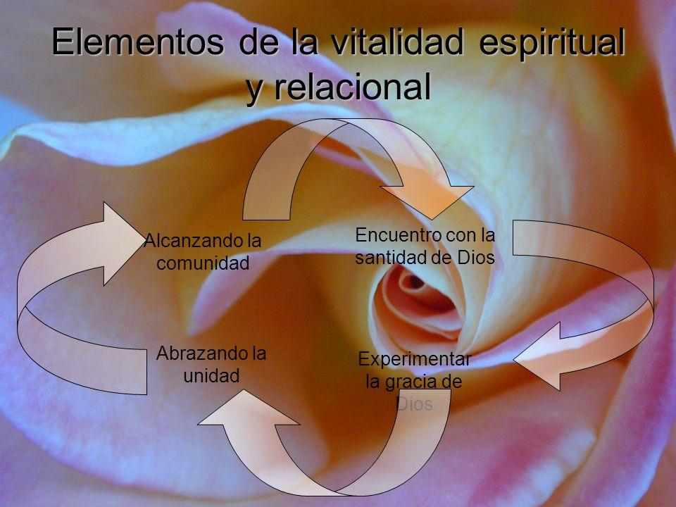 Elementos de la vitalidad espiritual y relacional Encuentro con la santidad de Dios Alcanzando la comunidad Experimentar la gracia de Dios Abrazando l